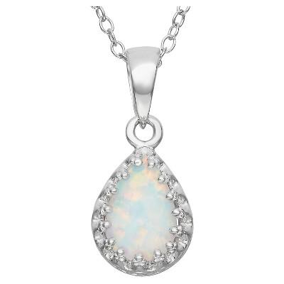 Pear-Cut Opal Crown Pendant in Sterling Silver