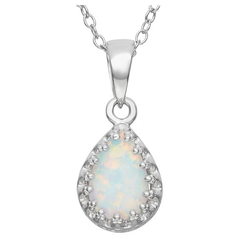 Pear-Cut Opal Crown Pendant in Sterling Silver - image 1 of 1