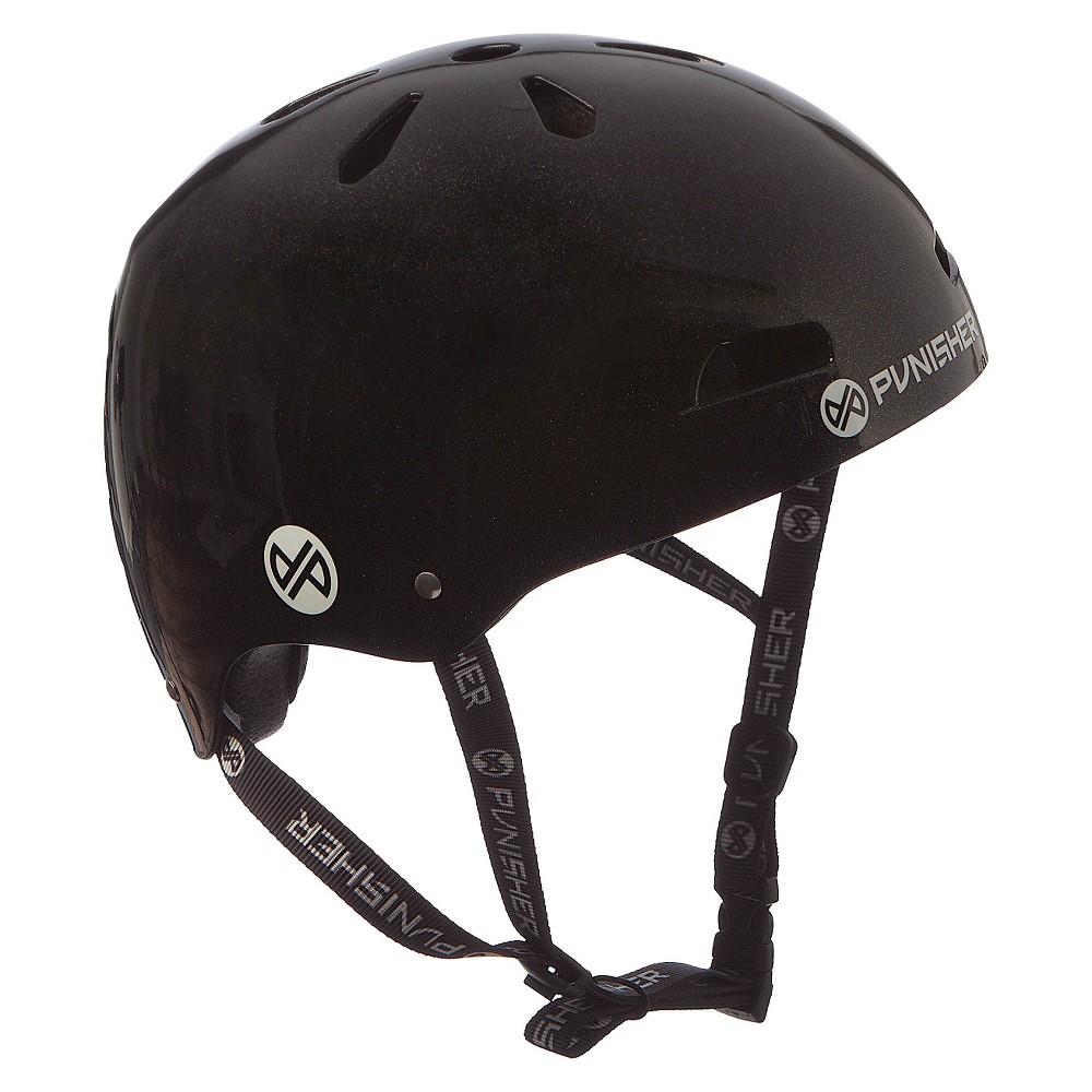 Punisher Skateboards Metallic Black Skateboard Helmet