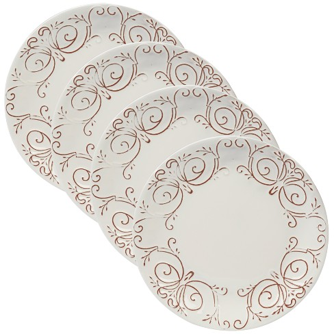 "Certified International Terra Nova Ceramic Dinner Plates 11.3"" White/Brown - Set of 4 - image 1 of 1"