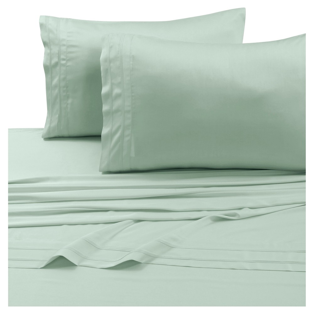 Rayon From Bamboo Deep Pocket Solid Sheet Set Twin Extra Long Sage 300 Thread Count Tribeca Living