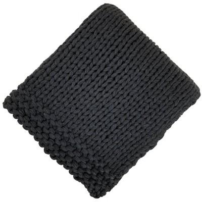 Chunky Knit Throw Black - Threshold™
