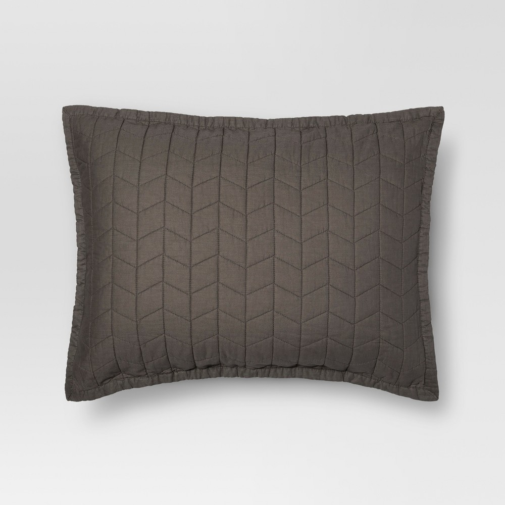 Gray Vintage Washed Solid Sham (Standard) - Threshold