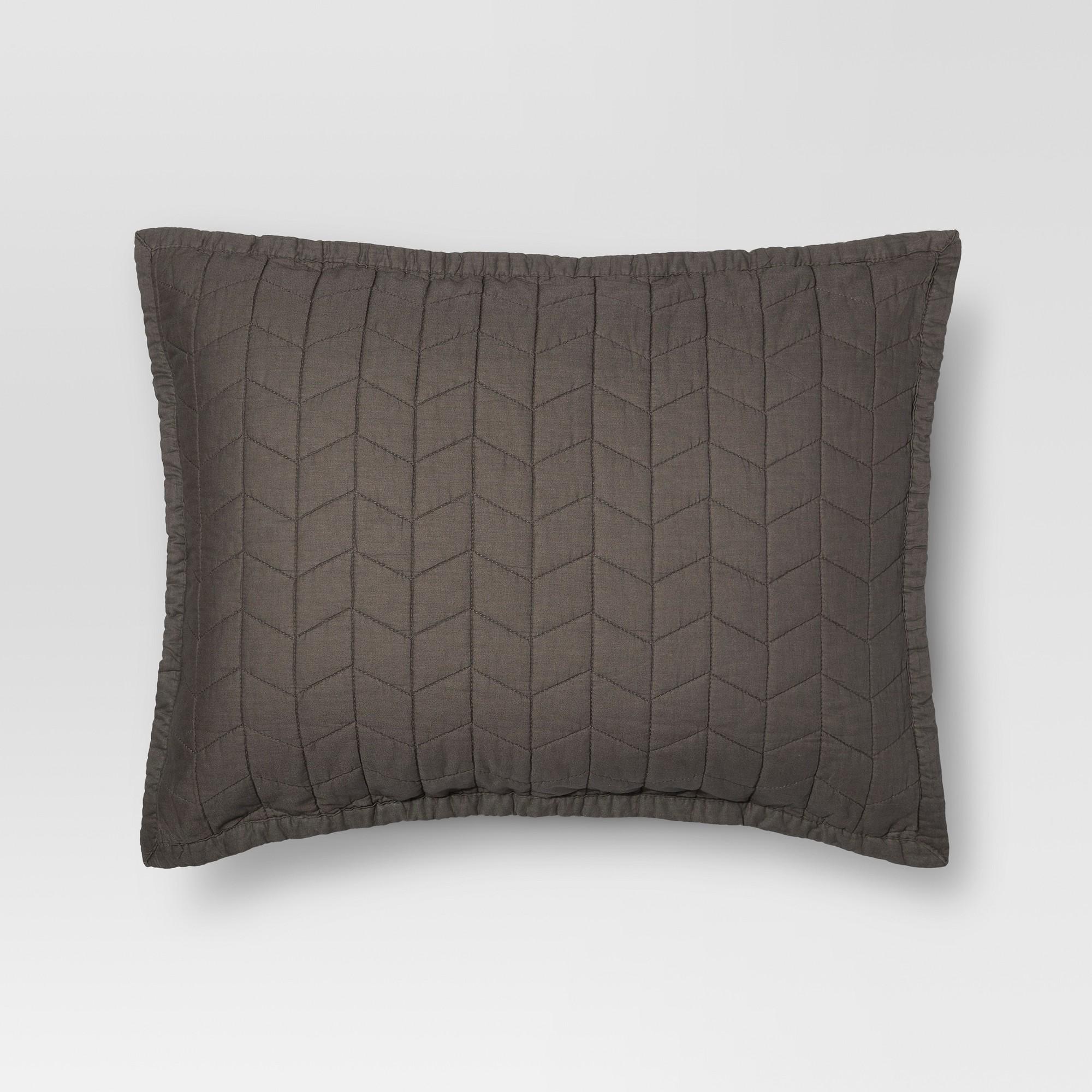 Gray Vintage Washed Solid Sham (Standard) - Threshold