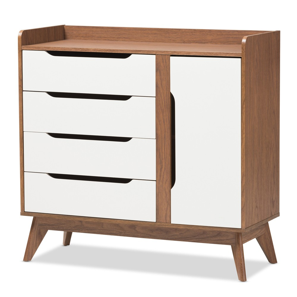 Image of Brighton Mid - Century Modern Wood Storage Shoe Cabinet - Brown - Baxton Studio, White
