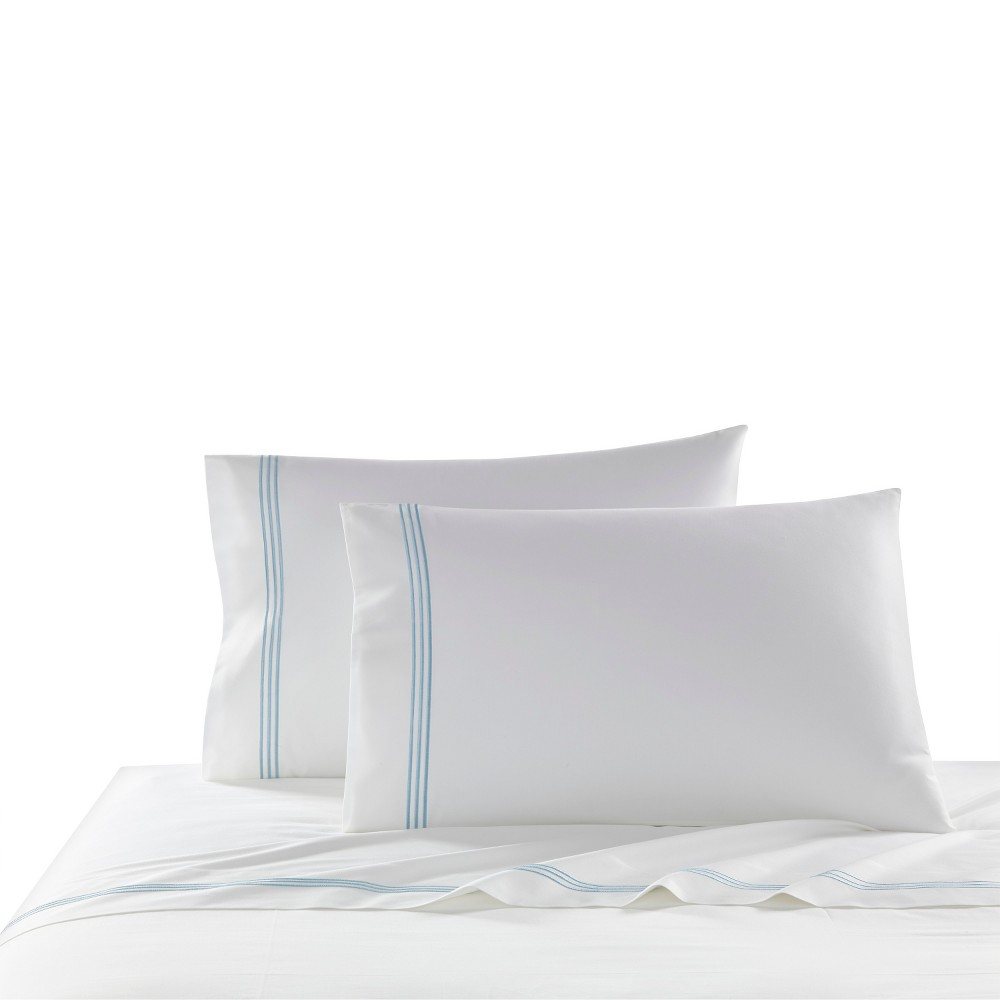 Buy Queen 2pk Triple Line Solid Pillowcase Set Blue - Cassadecor