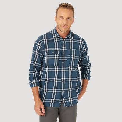 Wrangler Men's ATG Plaid Flannel Long Sleeve Button-Down Shirt