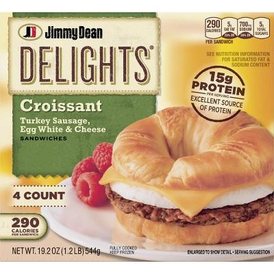 Jimmy Dean Delights Turkey Sausage, Egg Whites, & Cheese Frozen Croissant - 4ct