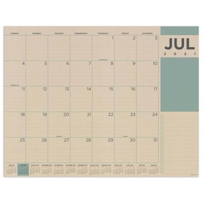 2021-22 Academic Desktop Calendar Kraft Desk Pad Monthly - The Time Factory