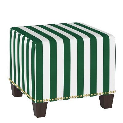 Square Nail Button Ottoman Canopy Stripe Emerald - Skyline Furniture
