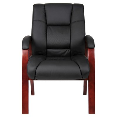 Gentil Mid Back Wood Finished Guest Chairs Black   Boss Office Products : Target