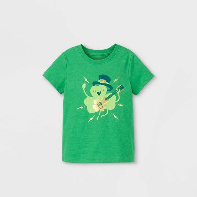 Toddler Boys' St. Patrick's Day Shamrock Rocking Out Graphic Short Sleeve T-Shirt - Cat & Jack™ Light Green