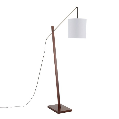 Arturo Contemporary Floor Lamp with Walnut Wood and Fabric Shade White (Includes LED Light Bulb) - LumiSource - image 1 of 4