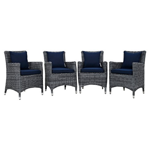 Summon 4pc All-Weather Wicker Patio Dining Set w/ Sunbrella Fabric - Canvas Navy - Modway - image 1 of 5