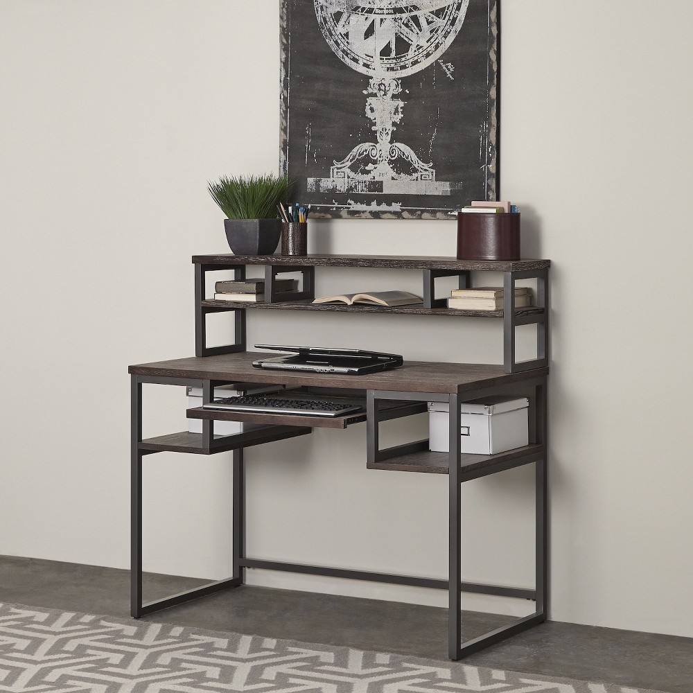Barnside Metro Student Desk with Hutch - Driftwood - Home Styles, Gray