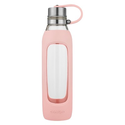 Contigo Purity Glass 20oz Water Bottle with Silicone Tethered Lid Pink