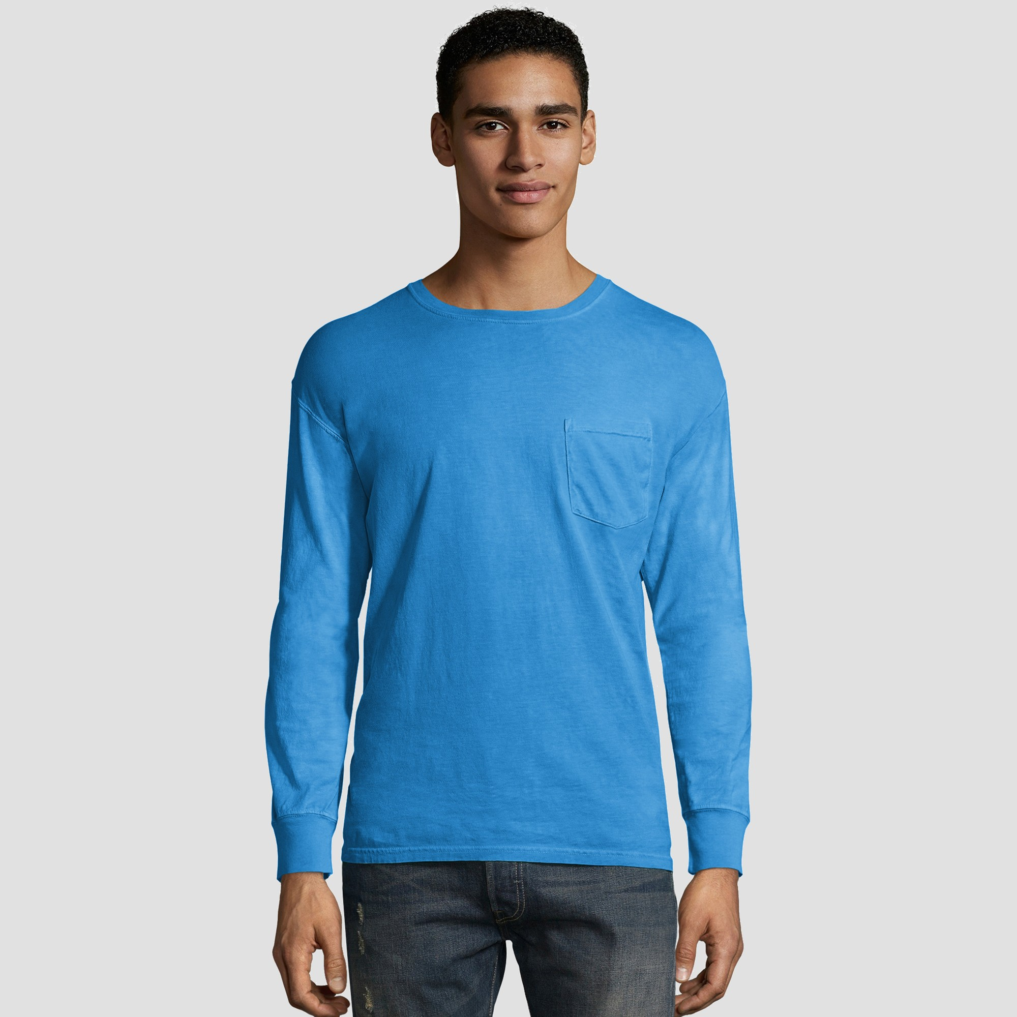 Hanes Men's Long Sleeve 1901 Garment Dyed Pocket T-Shirt - Sky Blue S