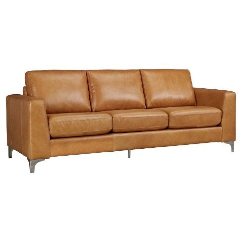 Anson Leather Sofa Camel - Inspire Q - image 1 of 4