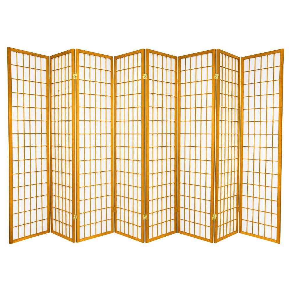 6 ft. Tall Window Pane Shoji Screen - Honey (8 Panels), Pumpkin