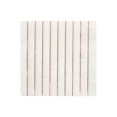 Meri Meri Metallic Pink Stripe Large Napkins