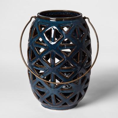 Ceramic Lantern Candle Holder - Blue - Threshold™