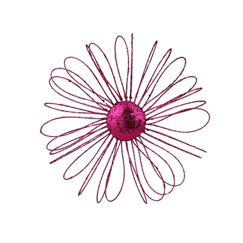 "Allstate 9"" Fuchsia Glitter Daisy Christmas Ornament - Pink - image 1 of 1"
