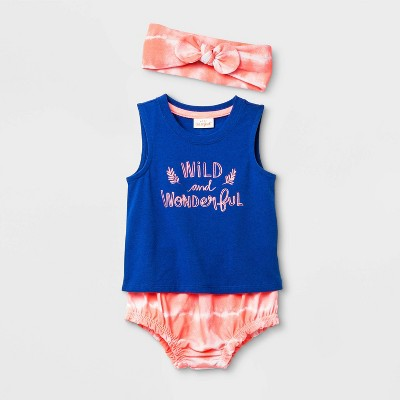Baby Girls' Wild and Wonderful Top & Bottom Set - Cat & Jack™ Blue 12M