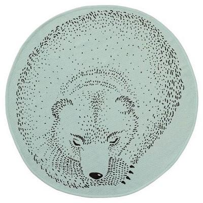 Round Cotton Rug with Sleeping Bear (31 )- Mint - 3R Studios
