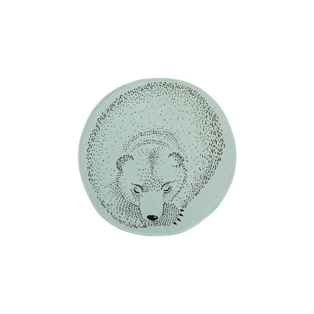 Round Cotton Rug with Sleeping Bear (31) - Mint (Green) - 3R Studios