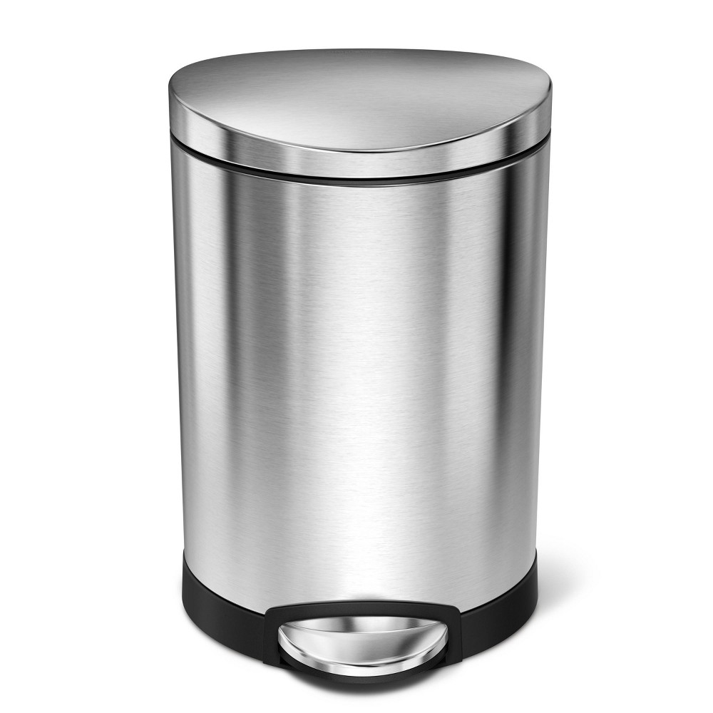 Image of 6L Semi-Round Step Can Brushed Steel - Simplehuman
