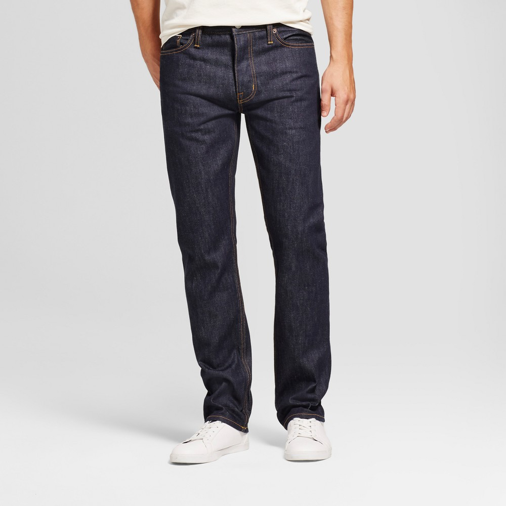 Men's Slim Straight Fit Selvedge Denim - Goodfellow & Co Indigo 34x34, Blue
