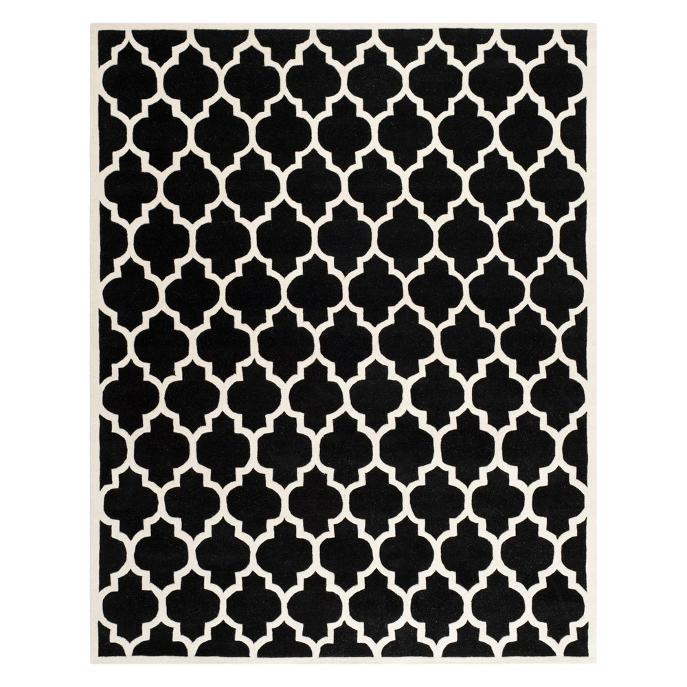 8'X10' Quatrefoil Design Tufted Area Rug Black/Ivory - Safavieh