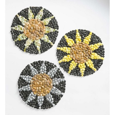 Plow & Hearth - Cheerful & Colorful Sunflower Outdoor Garden Stepping Stones, Set of 3