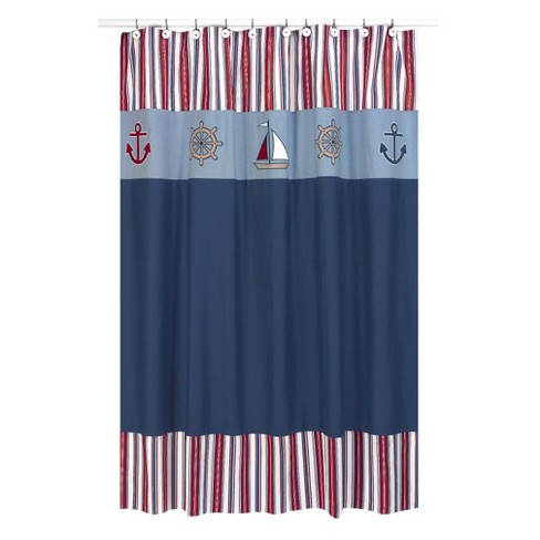 Nautical Nights Shower Curtain Blue/Red - Sweet Jojo® - image 1 of 1