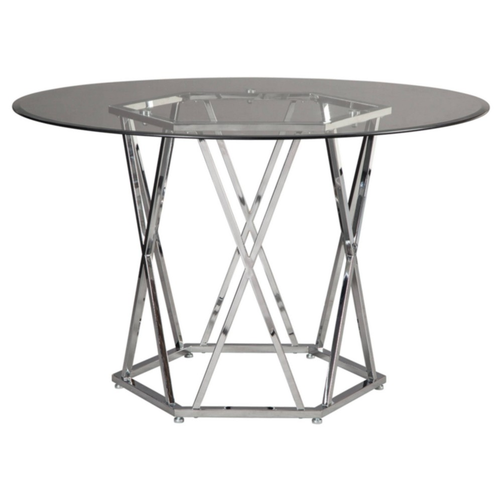 Image of Madanere Round Dining Room Table Chrome - Signature Design by Ashley