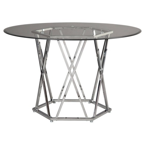 Glass Chrome Dining Room Table