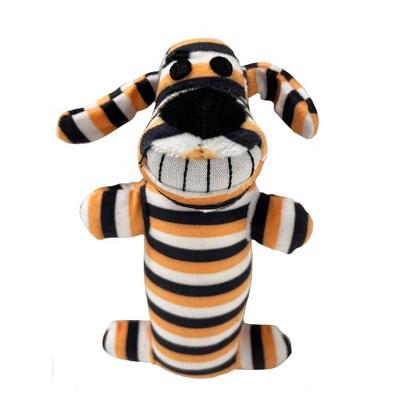 "Halloween Multipet Loofa Striped Dog Toy - Orange - 6"""