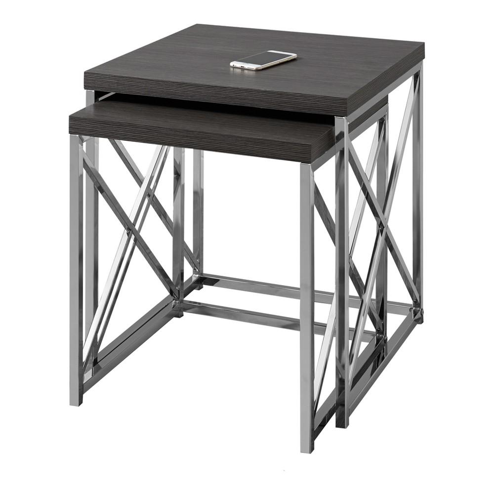 Nesting Table - Grey & Chrome Metal - EveryRoom, Gray