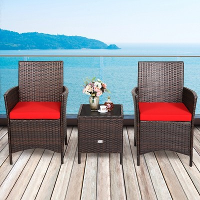 Costway 3PCS Patio Rattan Furniture Set Cushioned Sofa Glass Tabletop Deck Red\Blue