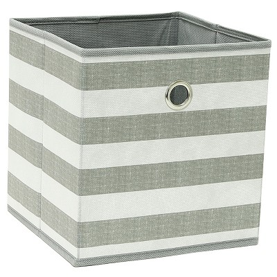 "11"" Fabric Cube Storage Bin Gray White Stripe - Room Essentials™"