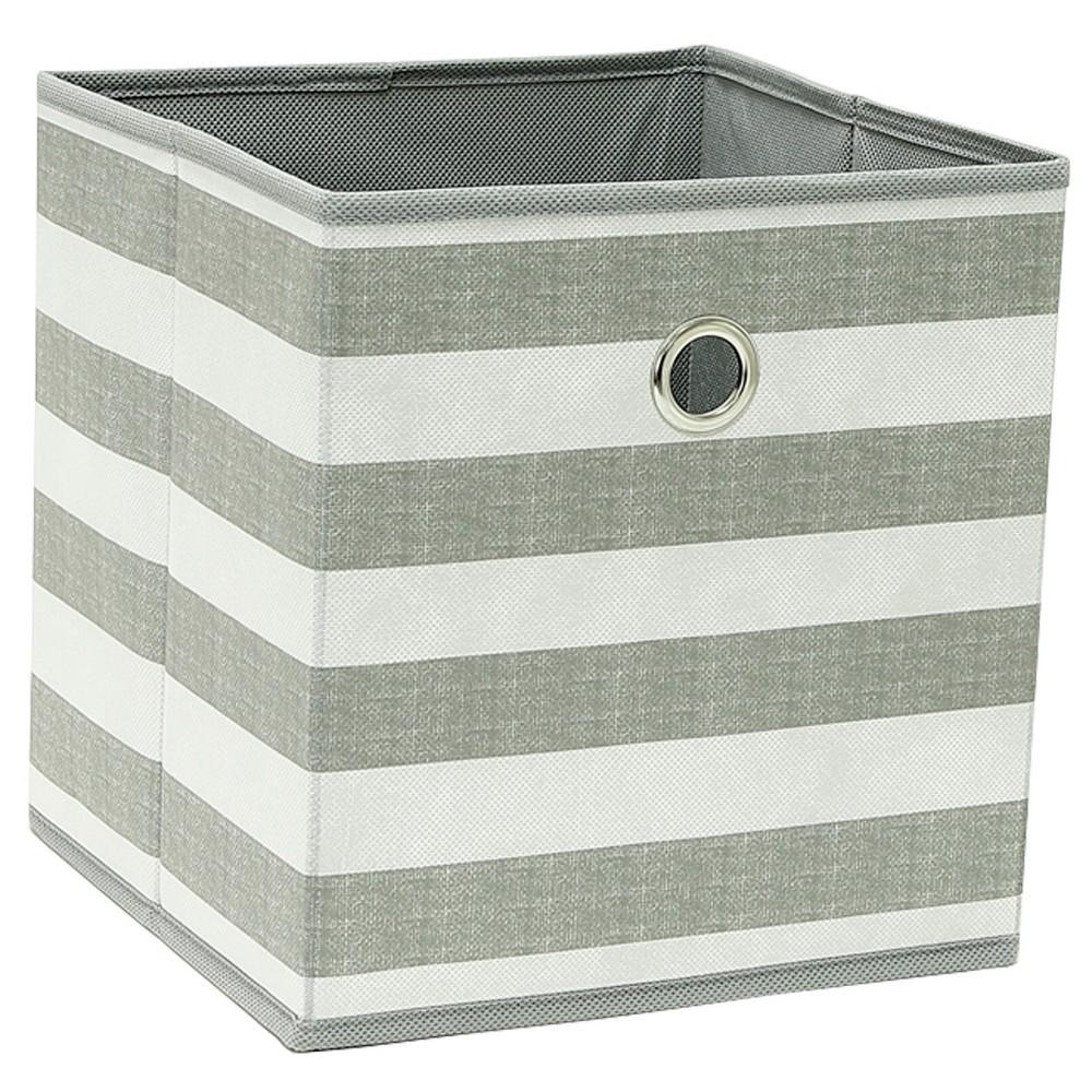 "Image of ""Cube Storage Bin Gray/White Stripe 11"""" - Room Essentials"""