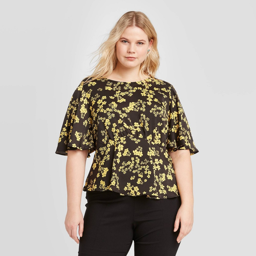 Women's Plus Size Floral Print Short Sleeve Blouse - Who What Wear Yellow 4X, Women's, Size: 4XL was $24.99 now $17.49 (30.0% off)