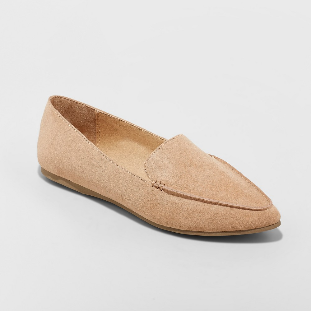 Women's Micah Wide Width Pointy Toe Loafers - A New Day Tan 8.5W, Size: 8.5 Wide