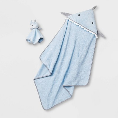 Baby Shark Hooded Bath Towel And Washcloth Set - Cloud Island™ Blue One Size