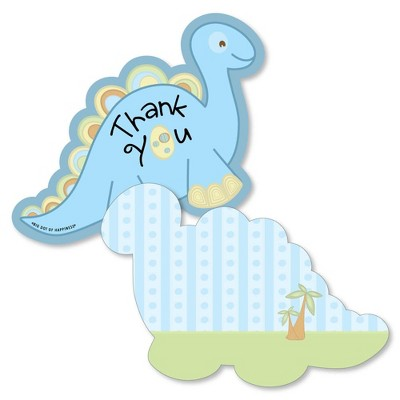 Big Dot of Happiness Baby Boy Dinosaur - Shaped Thank You Cards -Baby Shower or Birthday Party Thank You Note Cards with Envelopes - Set of 12