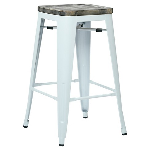 Osp Designs Bristow Vintage Wood Seat 26 Barstool Antique Metal Set Of 2 Office Star
