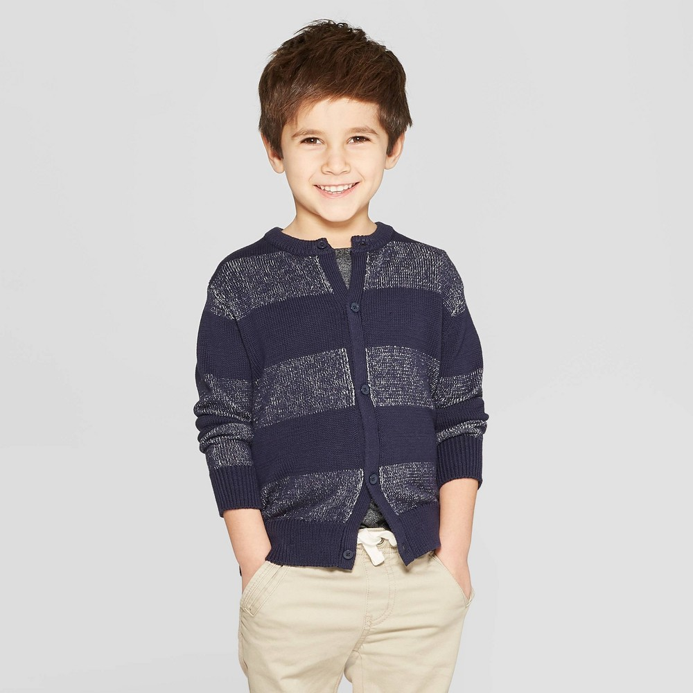 Toddler Boys' Button-Down Cardigan Sweater - Cat & Jack Navy 12M, Blue