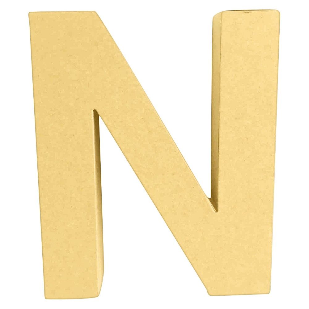 7 Paper Mache Letter N - Hand Made Modern, Brown