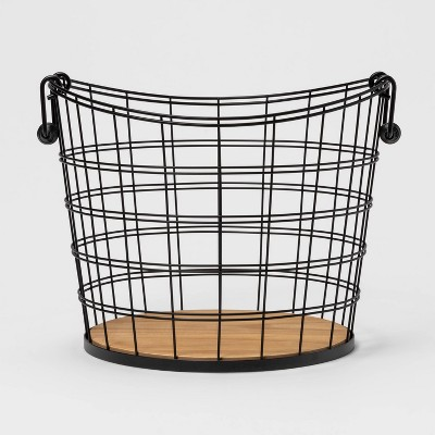 Large Metal Wire Round Basket with Solid Wood Base and Coiled Handle Black and Natural - Threshold™