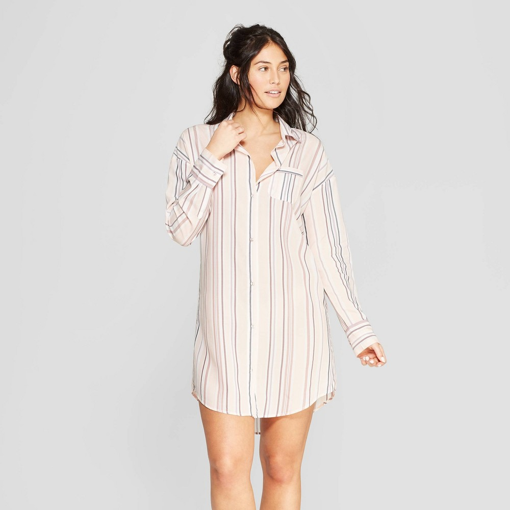 Women's Striped Simply Cool Button-Up Sleep Shirt - Stars Above Pink S